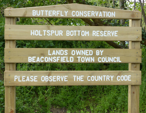 Holtspur Bottom Butterfly Reserve welcome board